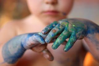 Pintura de dedos: muy pequeño todavía
