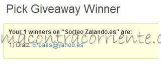 Ganador/a sorteo Zalando.es