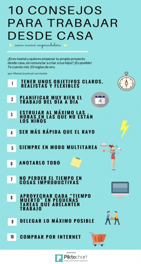 10 consejos para trabajar desde casa como mamá emprendedora infografía