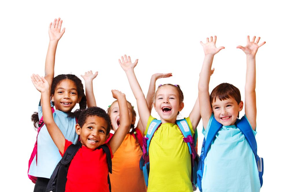 Niños contentos vuelta al cole