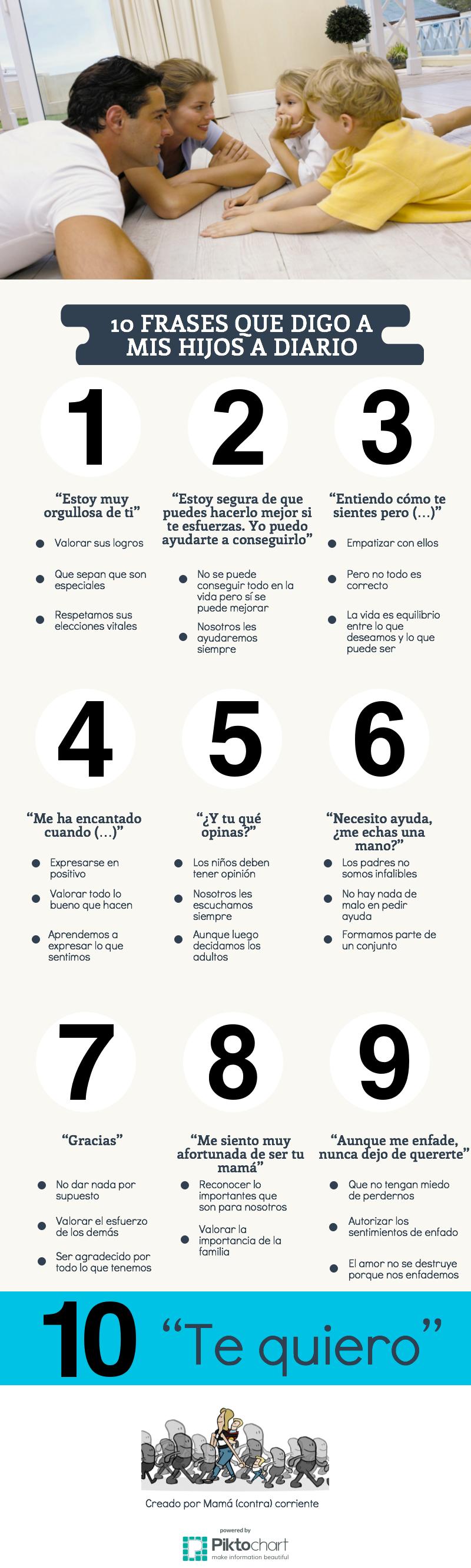10 frases para decir a los niños a diario (infografía)