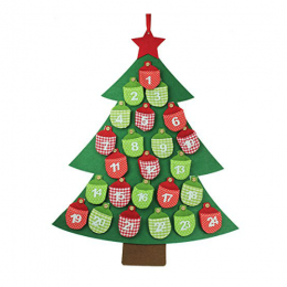 Calendario Adviento Árbol con Bolsillos de Fieltro
