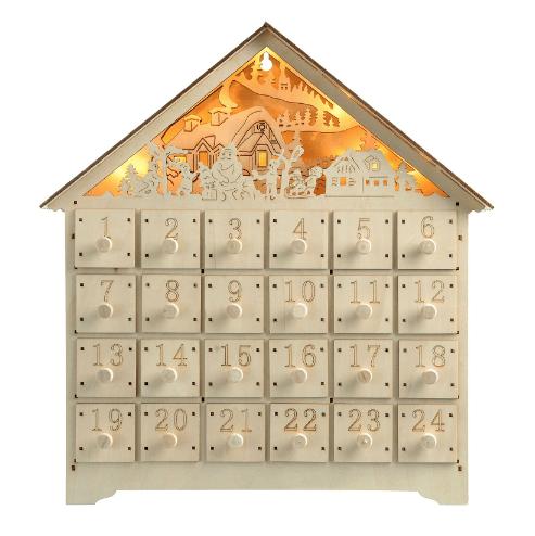 Calendario Adviento madera color blanco con luz
