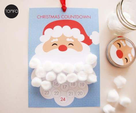 Calendario de Adviento Papá Noel con bolas de algodón