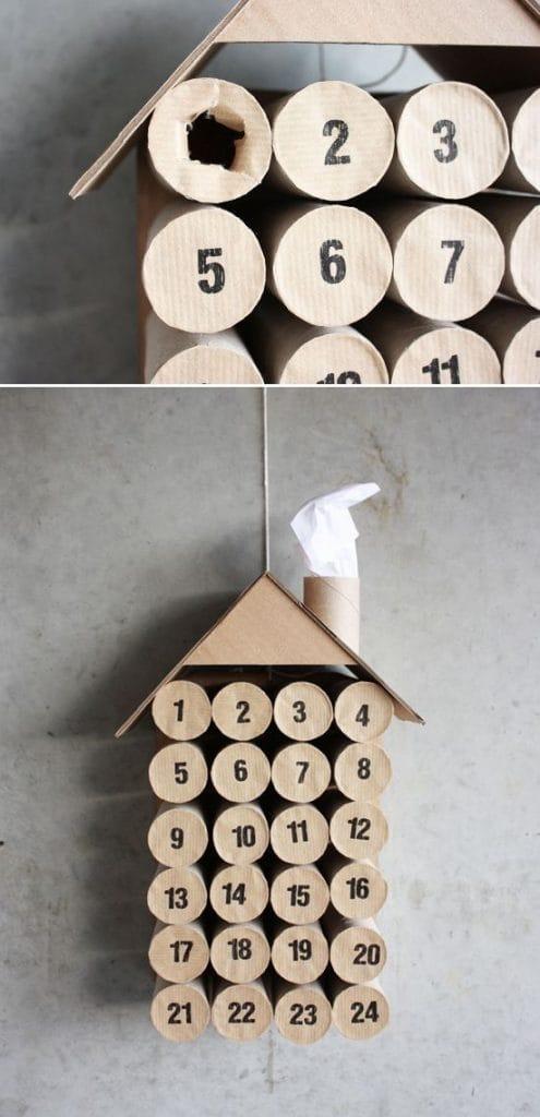 Calendario de Adviento haciendo una construcción con rollos de papel higiénico