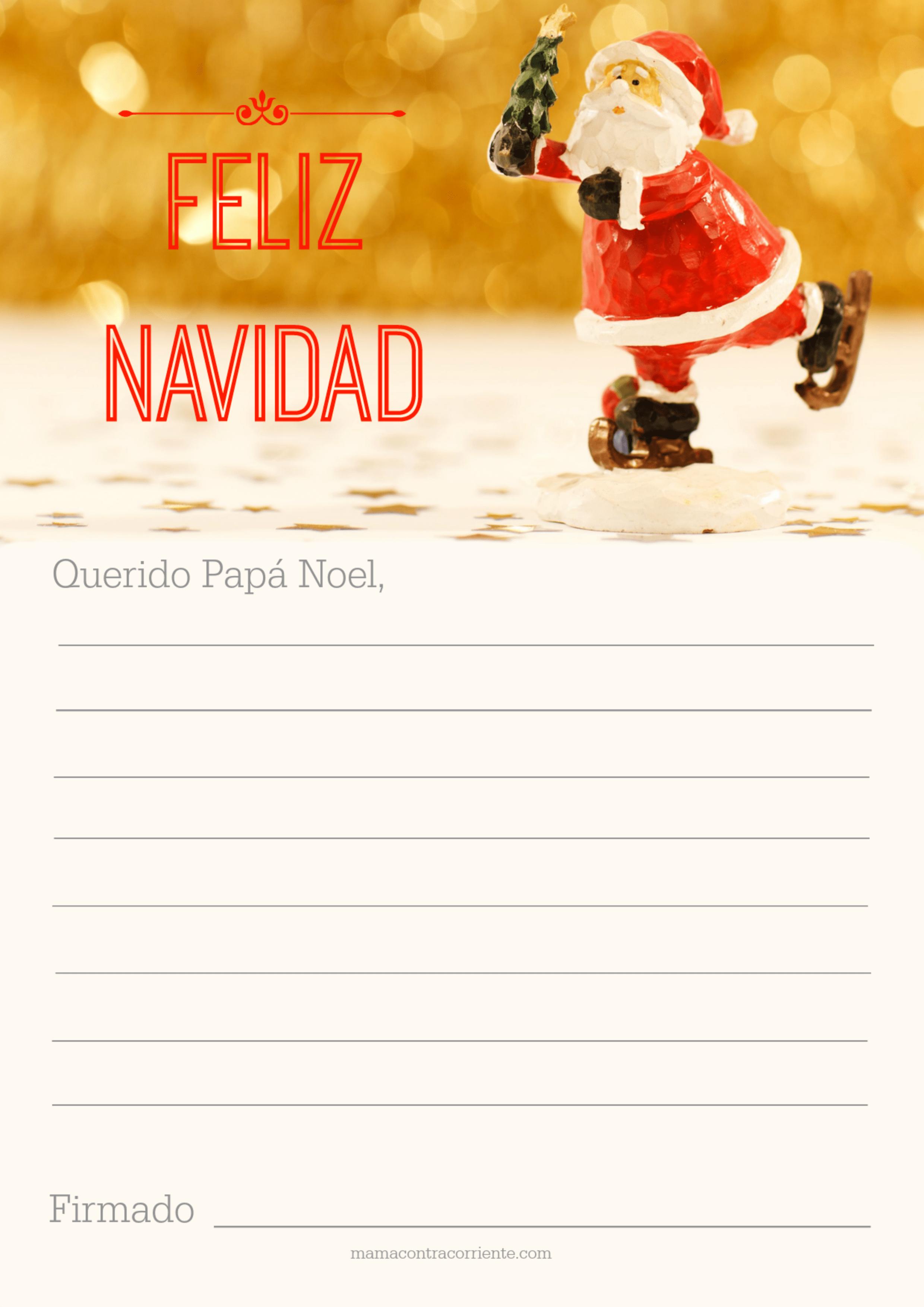 Imagenes Gratis De Papa Noel.Carta A Papa Noel Para Imprimir Descargable Gratuito