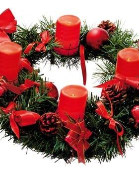 Comprar Corona de Adviento color rojo velas led
