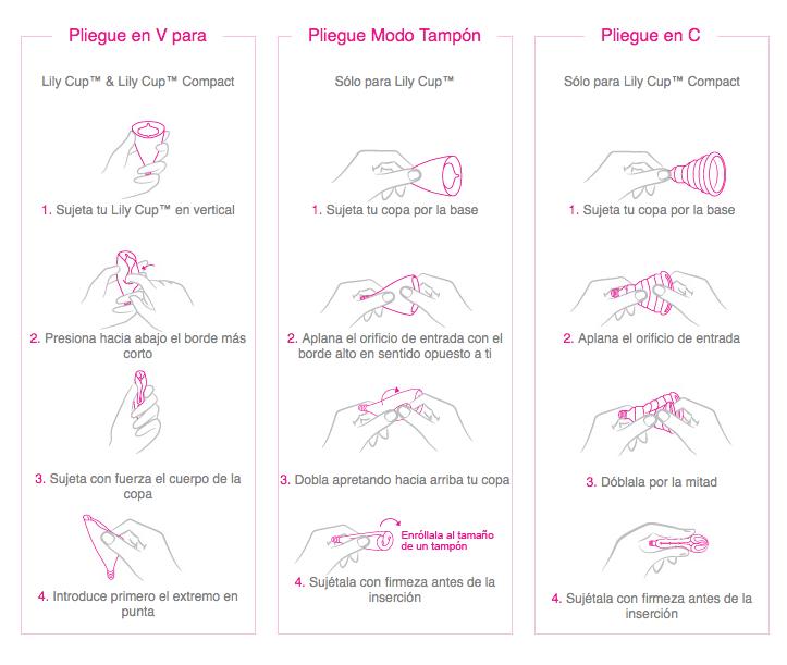Tipos de plegado copa menstrual