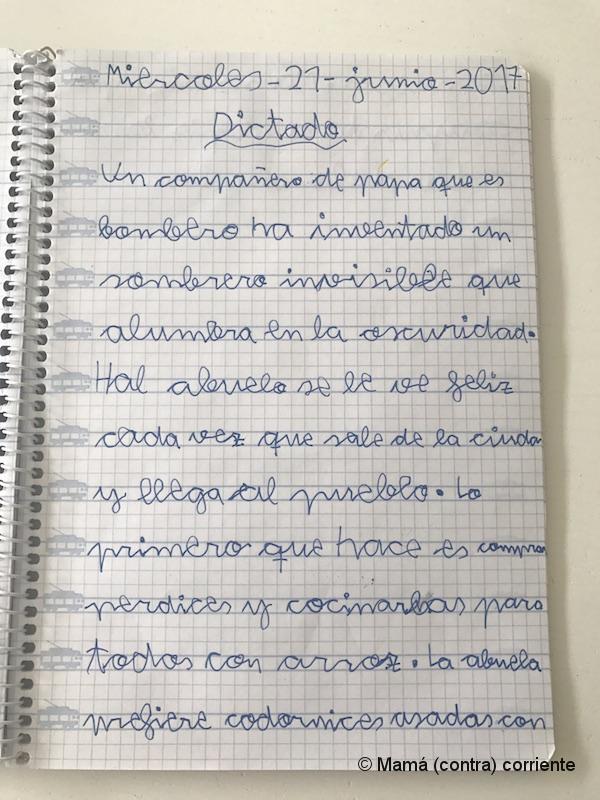 Letra ligada (ejemplo dictado de Segundo de Primaria)