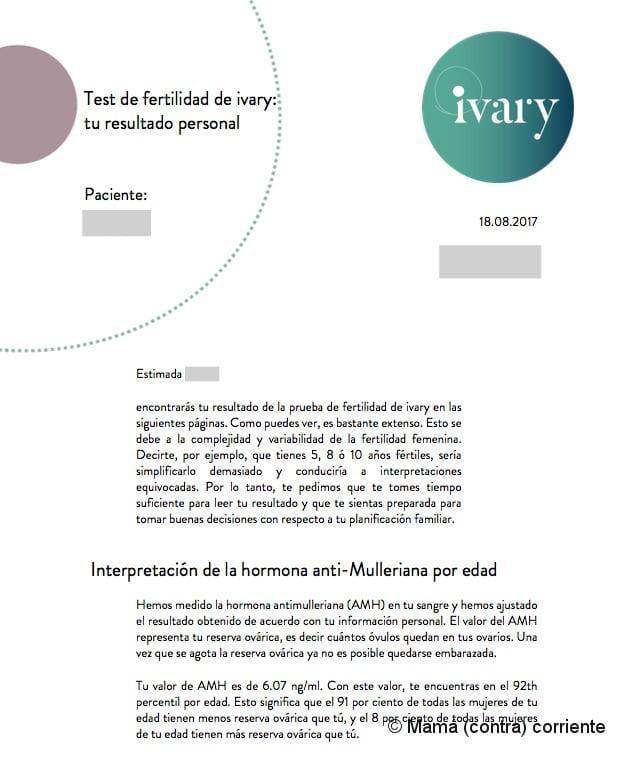 Test Ivary - Informe de fertilidad